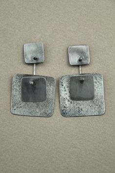 Holly Masterson double square earrings - silver
