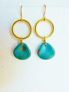 Turquoise Dangle Earrings, Turquoise Copper Dangle Earrings, Turquoise Jewelry, Turquoise Earrings
