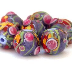 Vivaz - Bead Set redondo Lampwork en Orange, rojo, púrpura, fucsia y lima (7)
