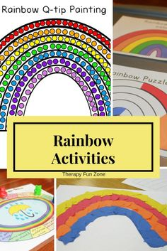 It is fun to do rainbow activities as you can include color sorting and matching along with working on fine motor skills. I have done many different rainbow activities over the years, and have also incorporated a Q-tip painting template into my latest act Rainbow Activities, Weather Activities, Rainbow Crafts, Motor Activities, Painting Activities, Speech Activities, Magic School Bus, School Fun, Rainbow Colors In Order