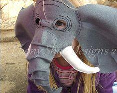 Felt Elephant Mask PATTERN.  Instant Download sewing pattern PDF for elephant mask kids costume.