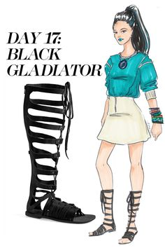 A simple sweatshirt and miniskirt combo gets an edgy makeover with statement jewelry and up-to-the-knee gladiators. Shop the gladiator sandal trend at Nordstrom.com   - MarieClaire.com