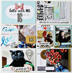 PL 2014 Week 16  left side by Alissa Fast using the Cocoa Daisy May kit, Here I Am, available NOW. Get our well-curated kit for $32.95 + S&H here: www.cocoadaisy.com #cocoadaisy #scrapbooking #kitclub #ProjectLife #DITL #Week16 #pocketscrapping #blackcat #gold #butterflies #thickers #geotags