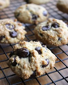 Flourless Chocolate Chip Cookie Recipe--maybe try coconut sugar or stevia instead of the maple syrup