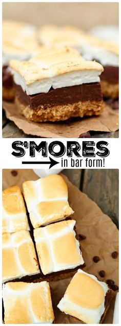 Perfect No-Bake S'mores Bars are made with a buttery graham cracker crust, rich chocolate fudge center and golden brown toasted marshmallow topping (Fun Summer Bake) Summer Desserts, Easy Desserts, Delicious Desserts, Yummy Food, Fun Food, Homemade Desserts, Best Dessert Recipes, Bar Recipes, Barbecue Recipes