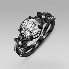 Black Flower Style Cubic Zirconia 925 Sterling Silver Black