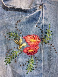 Broderie et perles pour le jeans de Corinne