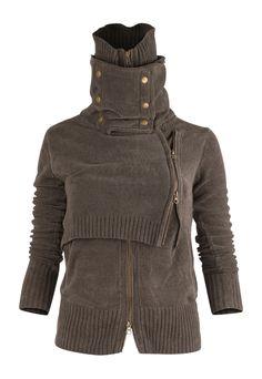 funnel neck chenille sweater