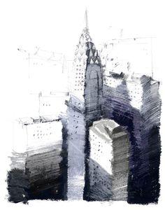 Paul Balmer : Chrysler Oil pastel and pencil