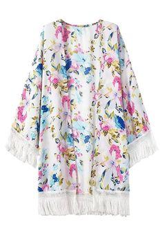 Floral Print Fringe Long Sleeve Kimono