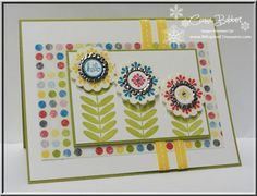 Connie's cheerful card features Madison Avenue & Pretty Petites (both SAB), and Sunshine & Sprinkles dsp plus the oh sooo cute Soda Pop Tops squished flat.