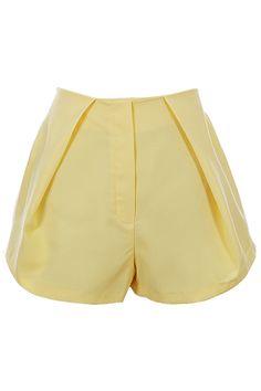 #Romwe Retro Yellow Pleated Shorts