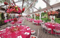 Preston Bailey brought a tropical sensibility to New York City's Central Park Zoo for its avian-themed Spring Gala benefit, staged in a tent with retractable sides.  Fuchsia tables were decorated with vibrant floral centerpieces that, in keeping with the event's theme, included faux macaws.