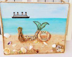 Mermaid Wall Art Beach Decor Coastal Collage by MidorisMyMuse