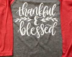 Thankful Shirt with Glitter Accent Thanksgiving by JandAApparel