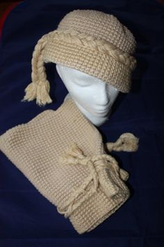 Vintage Knit Hat with Matching Drawstring by ilovevintagestuff