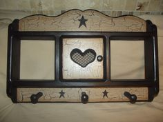 Primitive Crackle Wood Shelf w/ Door ShaKer Pegs ~ Black Stars Country Decor #NaivePrimitive