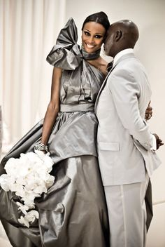 Cynthia Bailey's pewter bridal gown. #wedding #dress