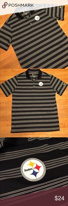 Nike NFL OnField Steelers striped polo shirt B&W This is a black and white striped polo shirt from Nike, Steelers logo on front. See pictures for details. Good condition minor wear. Be sure and check out other items in closet and bundle to receive discounts. Nike Shirts Polos