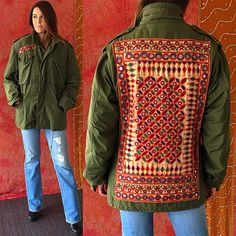 Indian Jacket Army Patched Embroidered Jacket Vintage 70s