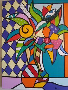 Romero Britto, one of my fav artists! Pop Art, Artist Project, 6th Grade Art, Graffiti Painting, Damier, School Art Projects, Arte Pop, Mondrian, Kandinsky