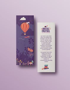 Bookmarks. Brand identity and website for toy shop. Knutsel Frutsel is creative and crazy toy and crafts shop. It's a wonderworld for children where they can go on an adventure and loose themselves in play. We went for colourful, storytelling images, illustrations, funny signs & moving images. A cool collection of a poster, postcards, giftcards, bookmarks and packaging for the shop, especially designed to give the shop the full brand story treatment.