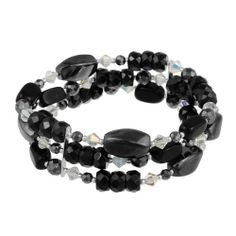 """Sterling Silver 3 Row Black and White Stone Bead Bracelet, 7.5"""" Amazon Curated Collection. $26.28. Made in Thailand. Genuine swarovski crystallized elements. Perfect addition to any outfit. Save 69% Off!"""