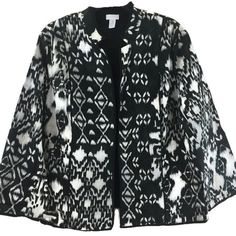 Chicos 3 Jacket Light Cotton Black White Blur Print Open Front Inside Pockets Lg #Chicos #BlazerStyle