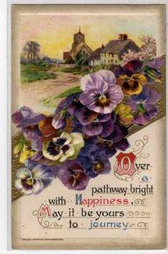 John Winsch Pansy Pansies Pathway Vintage Postcard 010113 | eBay
