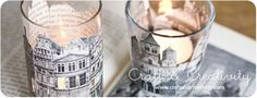 Recycling books - By Craft & Creativity - cut out pictures to decorate plain glass votive candle holders