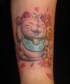 maneki neko tattoo, love the cherry blossom placement