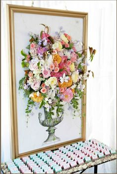 Gorgeous artwork with fresh flowers!
