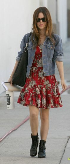 Jean Jacket with Summer Dress - cute idea!