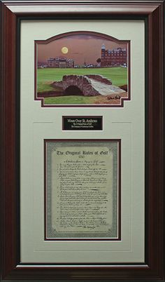Rules of Golf Photo Framed Display.