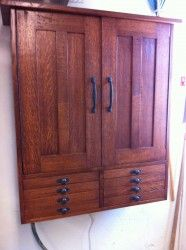 Gorgeous mission style tool cabinet by Rusty Burwell, via The Wood Whisperer