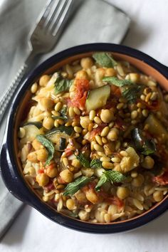 Orzo with Tomato Braised Zucchini and Chickpeas!