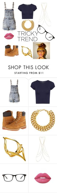 """Tricky Trend? I think not"" by queenkayla01 ❤ liked on Polyvore featuring WearAll, Timberland, A.V. Max, Katie Rowland, New Look, Lime Crime, TrickyTrend and overalls"