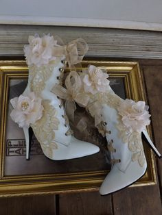 Victorian Wedding Boots Beige Roses Lace White by Arabescque, $249.99