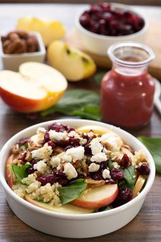 A delicious blend of sweet and savory flavors, this Cranberry Spinach Quinoa Salad is the perfect salad to serve while enjoying a CPK oven-ready pizza. Cranberry Quinoa Salad, Quinoa Salad Recipes, Vegetarian Recipes, Healthy Recipes, Farro Recipes, Quinoa Dishes, Healthy Salads, Healthy Cooking, Healthy Eating
