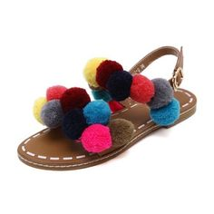 Roman Style Pom Pom Flat Sandals (€28) ❤ liked on Polyvore featuring shoes, sandals, brown flat sandals, flat sandals, flat footwear, pom pom shoes and pom pom sandals