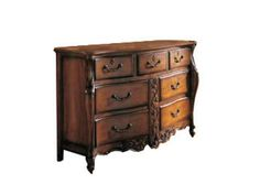 Crafted from Walnut solids and Cherry veneers, the RayLen Vineyards collection features European Traditional designs blended with Louis Phillipe and Country French styles. 7 Drawers w/Decorative Bails Top Center Drawer w/Jewelry Tray, 3 Escutcheons, Serpentine Front w/Hand Carving, Waxy Distressed Finish.