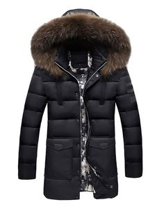 4ca61b1df1b Men Puffer Coat Plus Size Black Overcoat Hooded Long Sleeve Slim Fit  Quilted Coat
