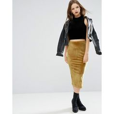 ASOS Pencil Skirt in Velvet (920 RUB) ❤ liked on Polyvore featuring skirts, yellow, asos, high waist skirt, body con skirt, high-waisted skirts and pencil skirt