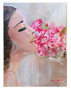 Romantic Outsider Folk Art Vintage Original Painting Woman Smells Flowers Moquet  | eBay Flower Paintings, Art Paintings, Original Paintings, Pink Painting, Pink Art, Outsider Art, Folk, Walls, Romantic