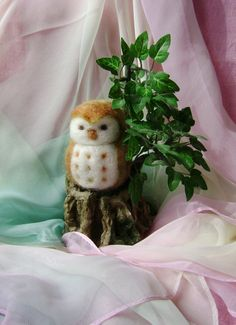 A Wool Owl in his home    Needle felted in NZ  by softearthart, $30.00