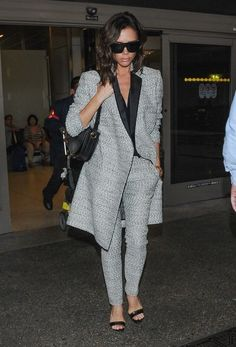 Victoria Beckham Strappy Sandals - Victoria Beckham teamed her suit with Manolo Blahnik Chaos sandals, in black.