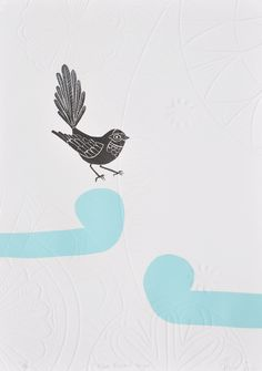 Blue Fantail Hapu, embossed print www.anniesmitssandano.com