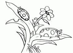 Ladybug Flower Coloring Page