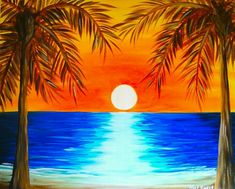 Beach Painting Ideas Lovely Tropical Sunrise Wine and Canvas Free Time Beach Sunset Painting, Sunrise Painting, Summer Painting, Easy Canvas Painting, Easy Paintings, Painting & Drawing, Landscape Paintings, Watercolor Paintings, Canvas Art