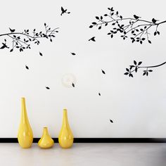 PVC Pegatina Adhesiva de Pared Ramas Aves Hojas Caídas Decoración para Salón